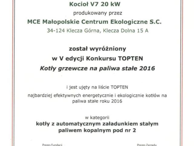 MCE certyfikat topten kotły grzewcze