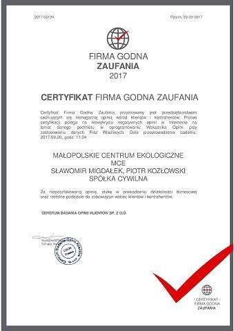 certyfikat firma godna zaufania