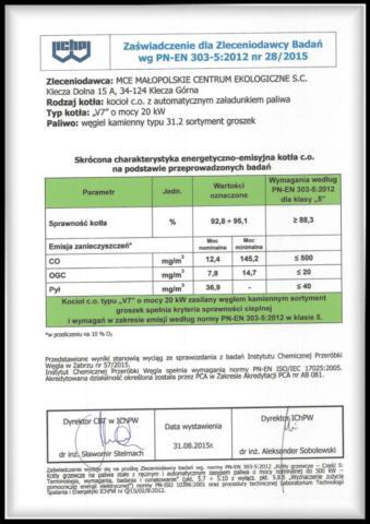 certyfikat kocioł V7 klasy 5