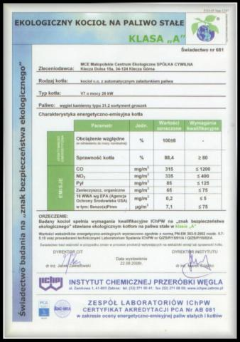 certyfikat kocioł V7 klasa A