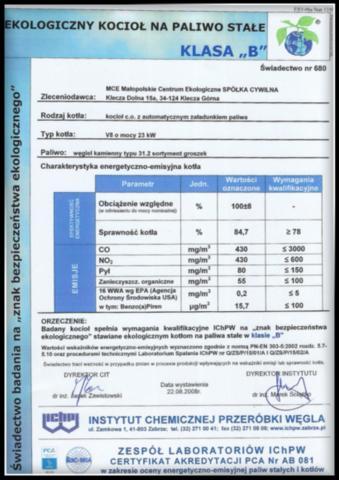 certyfikat kocioł V8